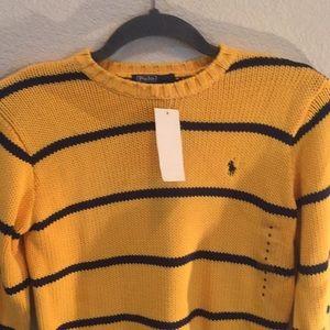 Ralph Lauren yellow sweater boys size S 8-10 NWT
